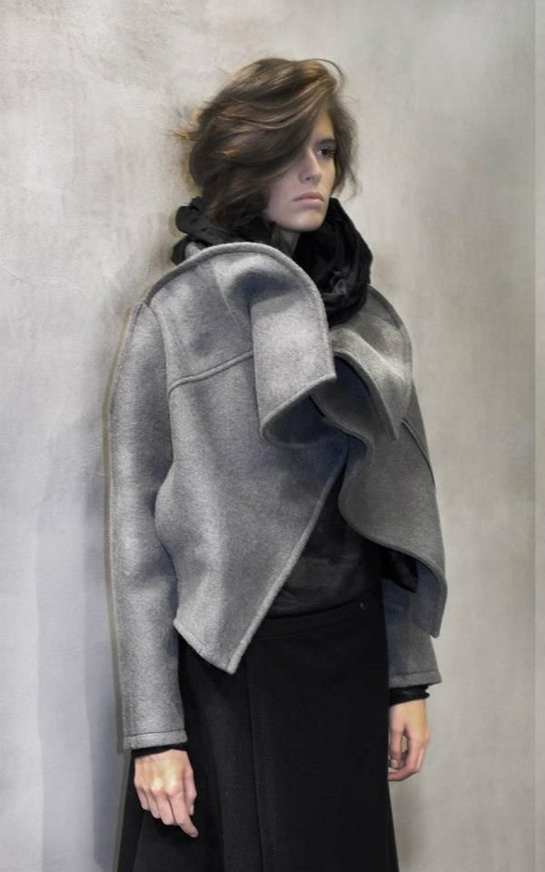 Sculptural Fashion - grey wool jacket with structured drape for shape & volume // Pirosmani