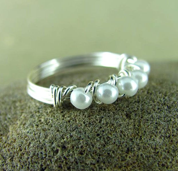 Wire Wrapped Ring Eternity Style Pearl Ring Custom Ring Silver Wire Wrapped Jewelry Nickel Free by PolymerPlayin on Etsy