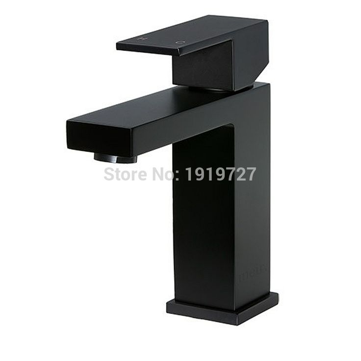 High Quality 100% Solid Brass Newest Luxury Design Deck Mount Vessel Faucet Matt Black Square Bathroom Small Basin Tap Mixer