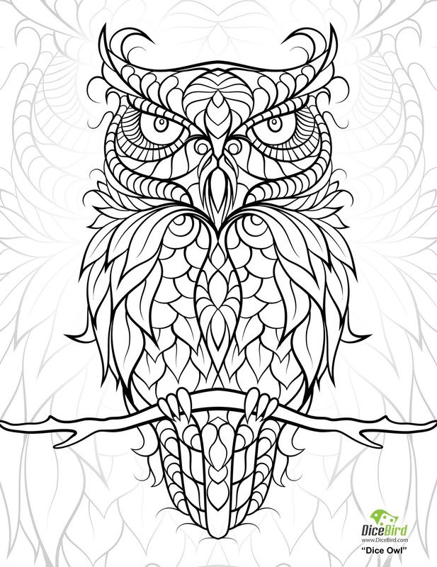 dice coloring pages - dicebird dice owl coloring page pattern owls