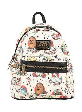 """All your favorite classic Star Wars characters get an updated look on this mini backpack. The design features tattoo art style images of Chewbacca, Princess Leia Boba Fett, C-3PO, Yoda, Darth Vader, stormtrooper and R2-D2. Small front pocket, side pockets, adjustable, padded straps and zipper closure.<br><br><ul><li style=""""LIST-STYLE-POSITION: outside !important; LIST-STYLE-TYPE: disc !important"""">11 1/2"""" x 9 1/2""""</li><li style=""""LIST-STYLE-POSITION: outside !important; LIST-STYLE-TYPE: disc…"""
