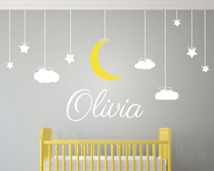 Childrens wall art nursery decor wall stickers nursery kids wall decal clouds
