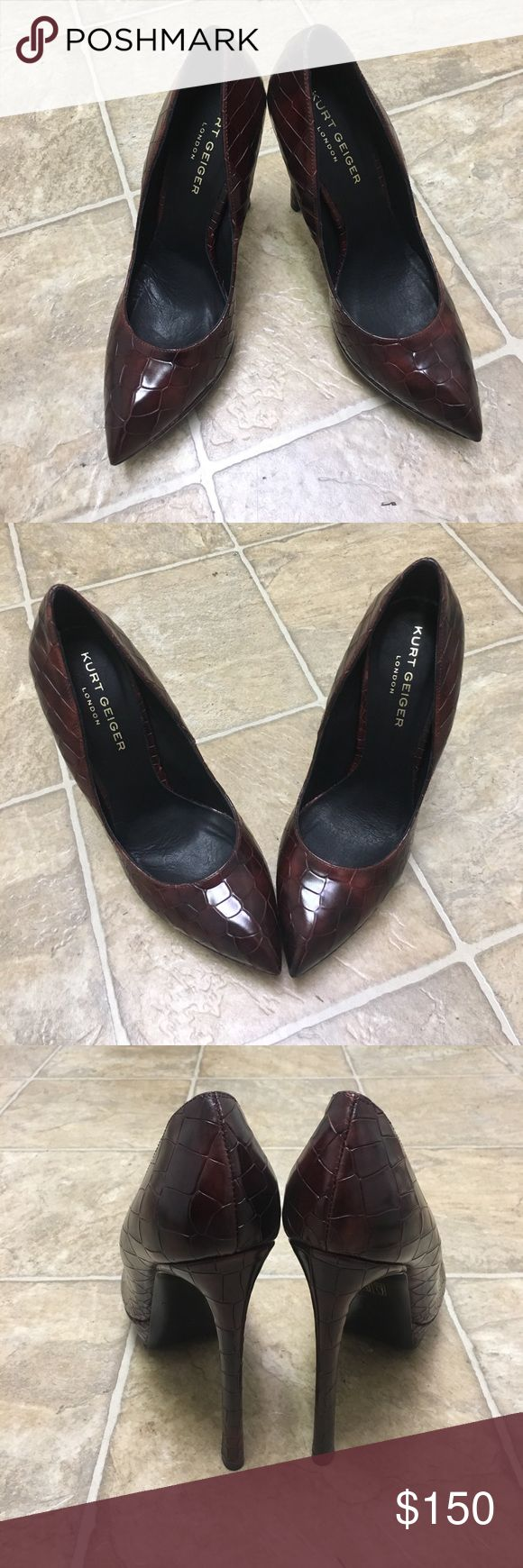 """6"""" Kurt Geiger Leather/Croc Print Courts Brand new, never worn, with box. Purchased from Selfridges in London, England. EUR 40.5 (runs small. fits 40) Kurt Geiger Shoes Heels"""