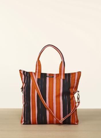 MARIMEKKO VEERA PIKKU ROTTI BAG PINK, ORANGE, BLUE  #stripes #stripe #organic #pink #orange #blue #handbag #shoulderbag #purse #bag