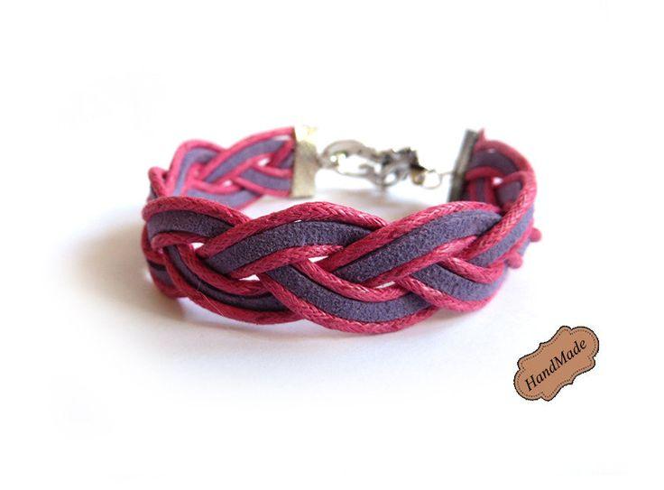 Bracciale donna Treccia rosa e viola braccialetto, by «:::Mosquitonero Shop:::», 4,99 € su misshobby.com