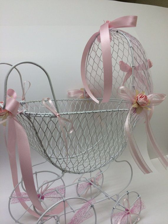 Vintage baby carriage centerpiece shower by