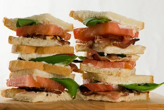 Bacon bacon bacon bacon: Bacon Bacon Bacon, Bacon Sandwiches, Bacon Tomatoes, Blt S, Minis Bacon, Blts, Basil Sandwiches, Sandwiches Recipe, Tomatoes Basil