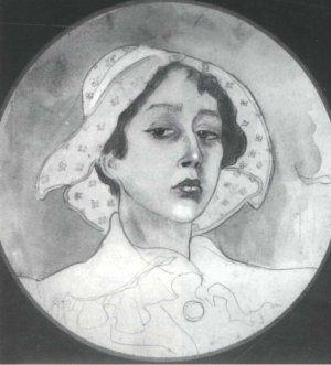 Maria Pawlikowska-Jasnorzewska -Autoportret Lilki Bzowskiej, akwarela ok. 1920