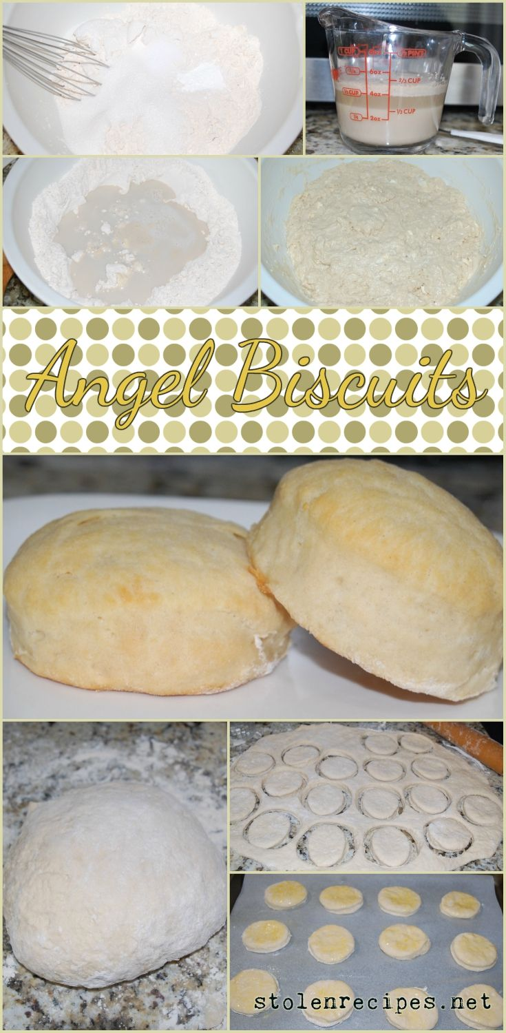 These light and fluffy biscuits use three different leavening agents: yeast, baking powder and baking soda. Flour, sugar, baking powder, baking soda and salt are combined together. Butter and a dissolved yeast mixture are added. The dough is chilled and then rolled out and cut into biscuits and baked.
