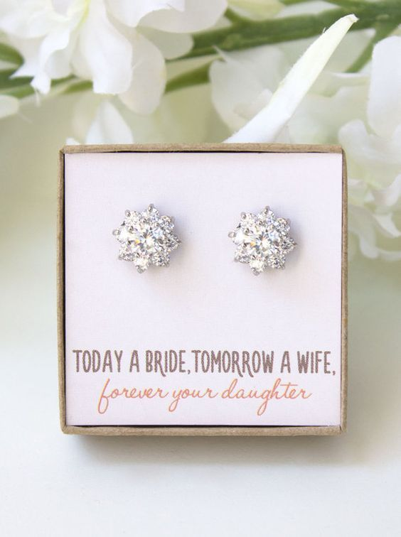 Bridesmaid Earrings Bridal Party Gift Earring Maid Of Honor Jewelry For Silver Studs