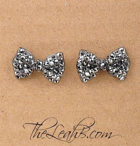 Crystal bow studs - like little tuxedo earrings.