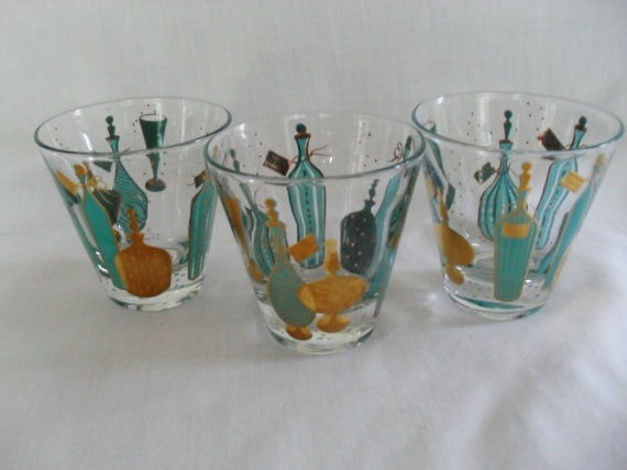 Wonderful Turquoise And Gold Bar Glasses Retro, Vintage