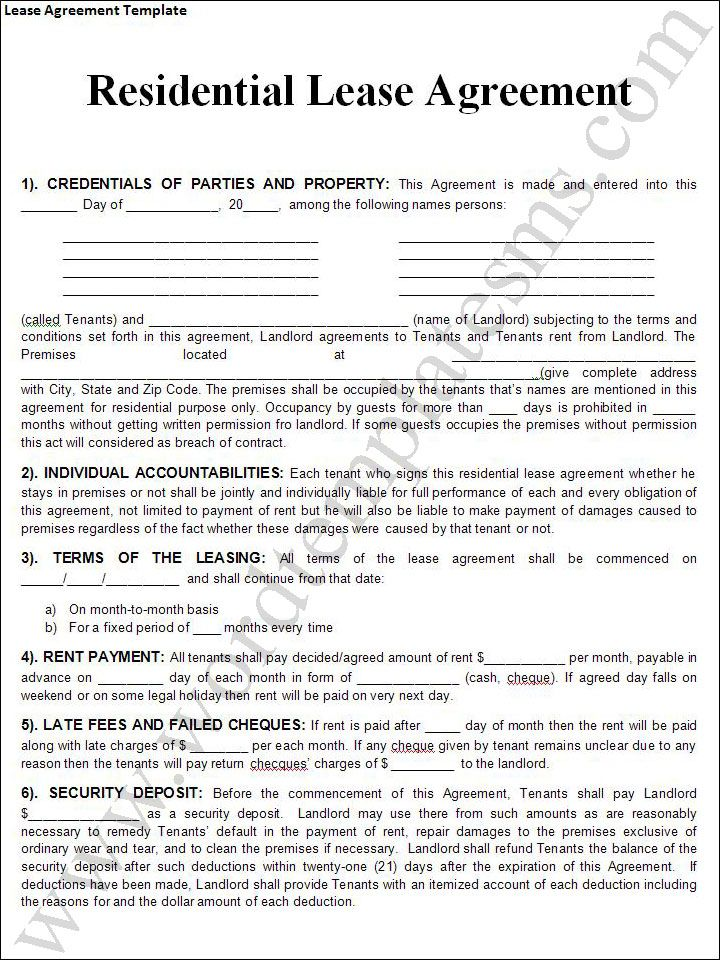 Printable Sample Rental Lease Agreement Templates Free Form