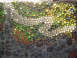 bottle wall- think we could drink enough wine to make a outdoor shower wall? I'm going to start today-drink up!