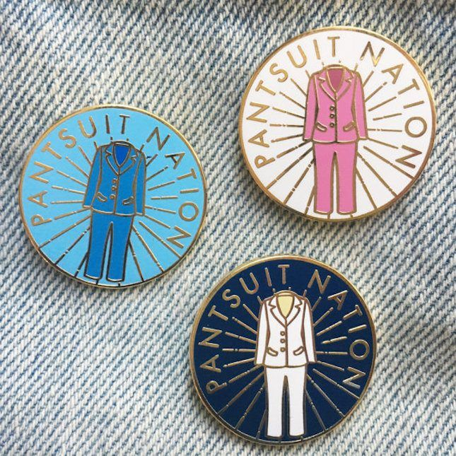 Any feminist will love this Hillary Clinton-inspired pantsuit nation enamel pin.