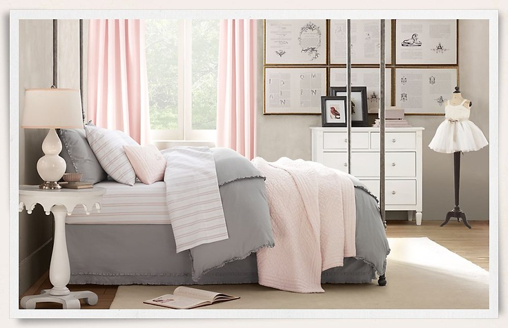 Grey and pink for girl 39 s bedroom the girls room for Pink grey and white bedroom ideas