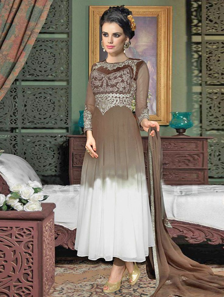 This season and your look get better definition with just a little attention to detail. Appear ethnic in such an affluent with this brown and white designer salwar suit. #Shopnow