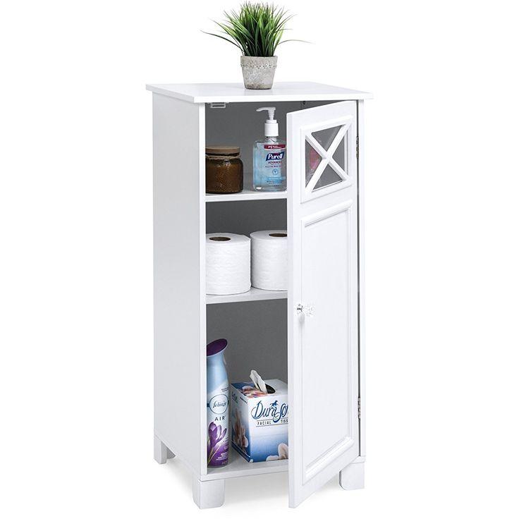 Elegant Bathroom Cabinets: Elegant Floor Cabinet W/Door (White)