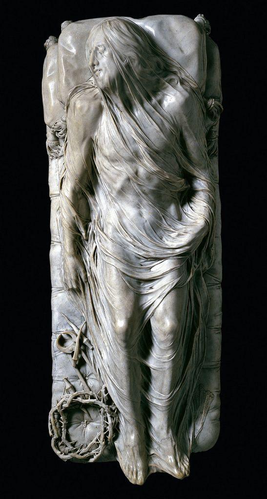 """""""Veiled Christ"""" 1753 Giuseppe Sanmartino - Cristo Velato - Cappella Sansevero, Naples http://www.museosansevero.it/inglese/cappellasansevero/cristovelato.html:"""