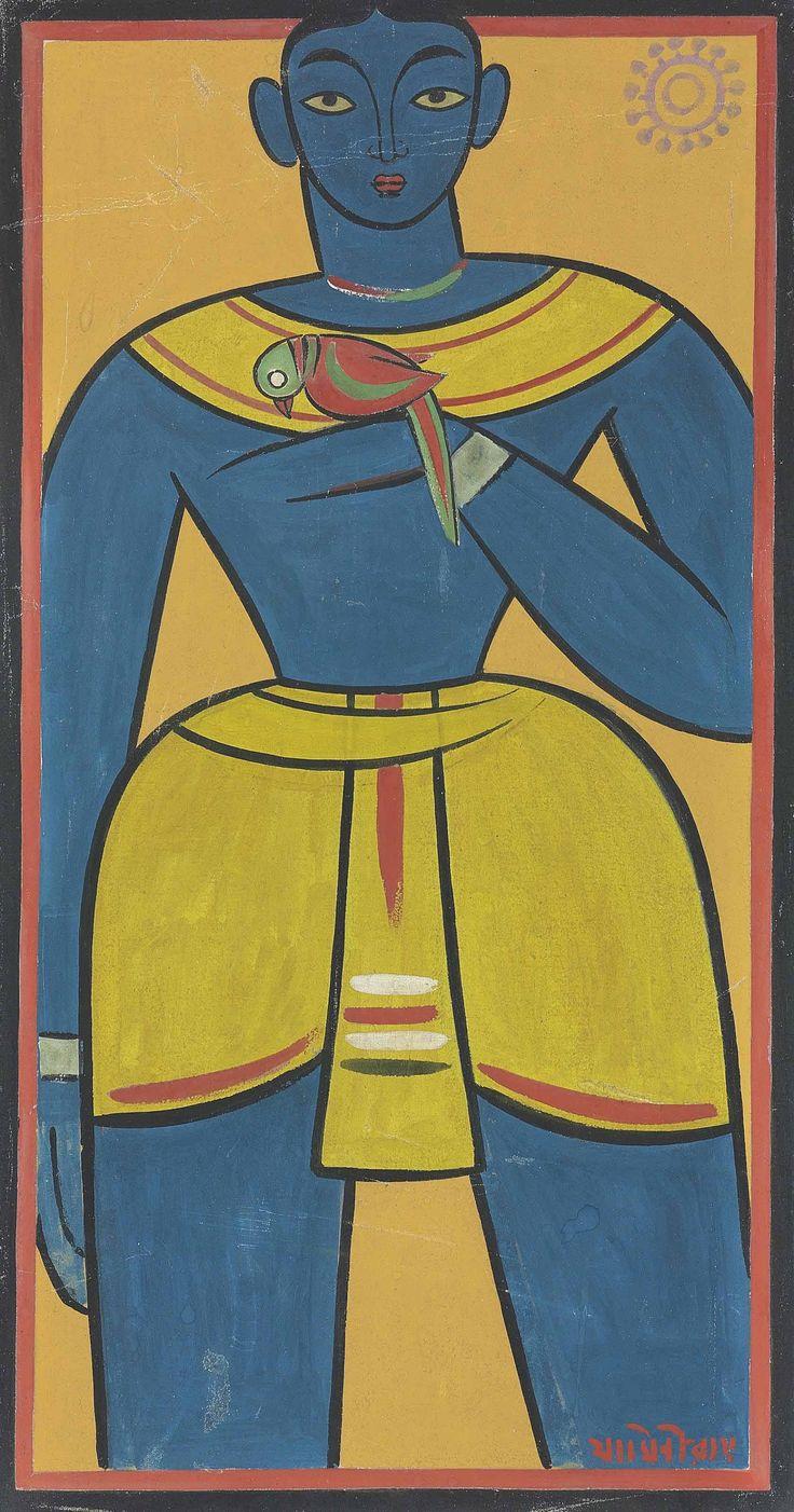 Jamini Roy Medium: Tempera on canvas Size: 38 x 20.2 in.