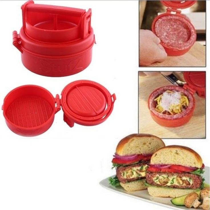 Stuffed Burger Press Hamburger Grill As Seen On TV (Color: Red)