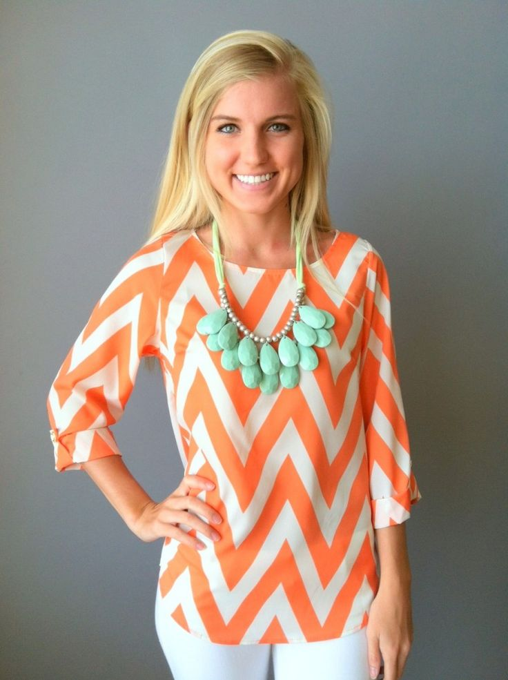 Love the color combo!: Dresses Shops, Cute Pin, Colors Combos, Statement Necklaces, Chevron Shirts, Chevron Tops, Orange Chevron, Cute Clothing, Chevron Stripes