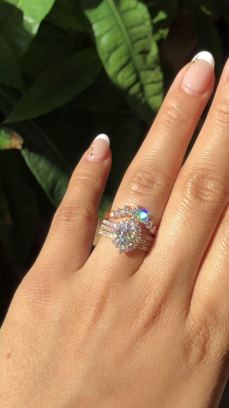 Oval Halo Diamond Moissanite Rings Stack by La More Design