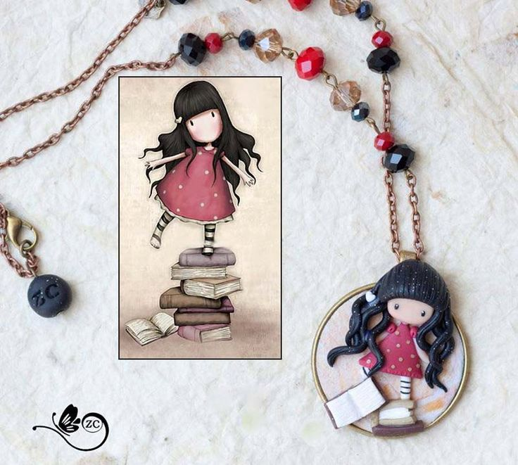 collana con fata  / collana fimo / zingara creativa /gorjuss collection di ZingaraCreativa su Etsy