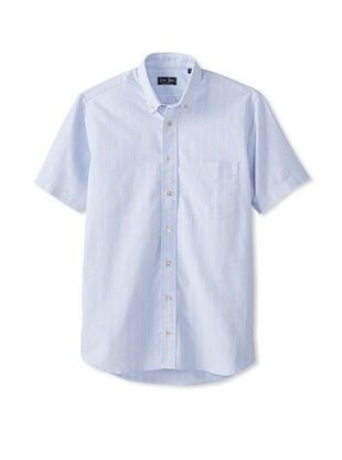 70% OFF Gitman Blue Men's Vintage Kissing Stripe Oxford Short Sleeve Shirt (Blue)