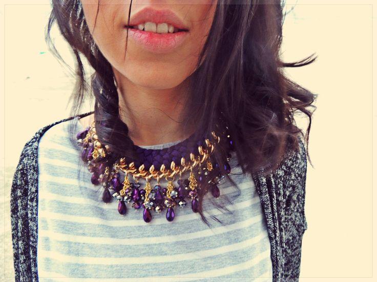 - complex violet double braided necklace -