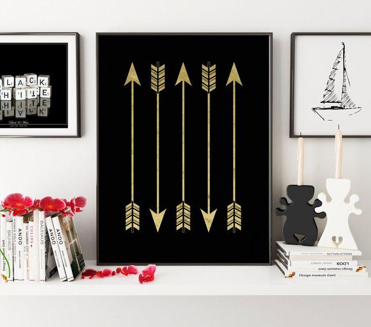 Gold Arrows, Printable Art, Wall Prints, Bohemian Art, Arrows, Prints, Arrow Art, Print Art, Arrow Prints, Digital Art