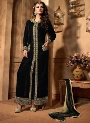 Splendid #Black #PantStyle #Suit On Velvet Fabric With Embroidered Patch Work And Embroidered Buttas.Paired With Velvet Bottom And Chiffon Dupatta.