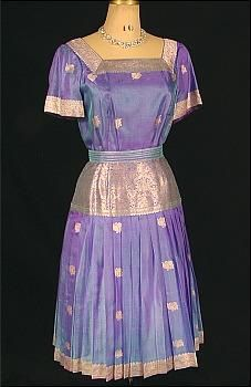 1960s RUTH VARLAN Purple/Blue Sari Silk Gown with Woven Silver Embroidery (Dupont Estate)
