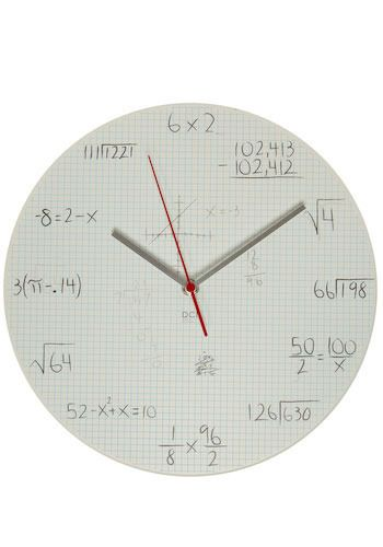 "Quiz your friends by reading the time as ""the square root of 64 hours and 198 divided by 66 minutes,"" instead of just ""8:15."""