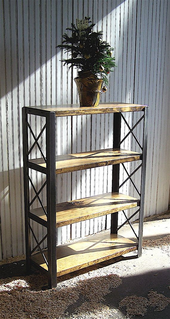 BOOKCASES: Made to Order of Recycled Steel, Bookshelf, Reclaimed Wood and Angle Iron, Shelves, Shelving Unit, Bookcase, Books, Storage