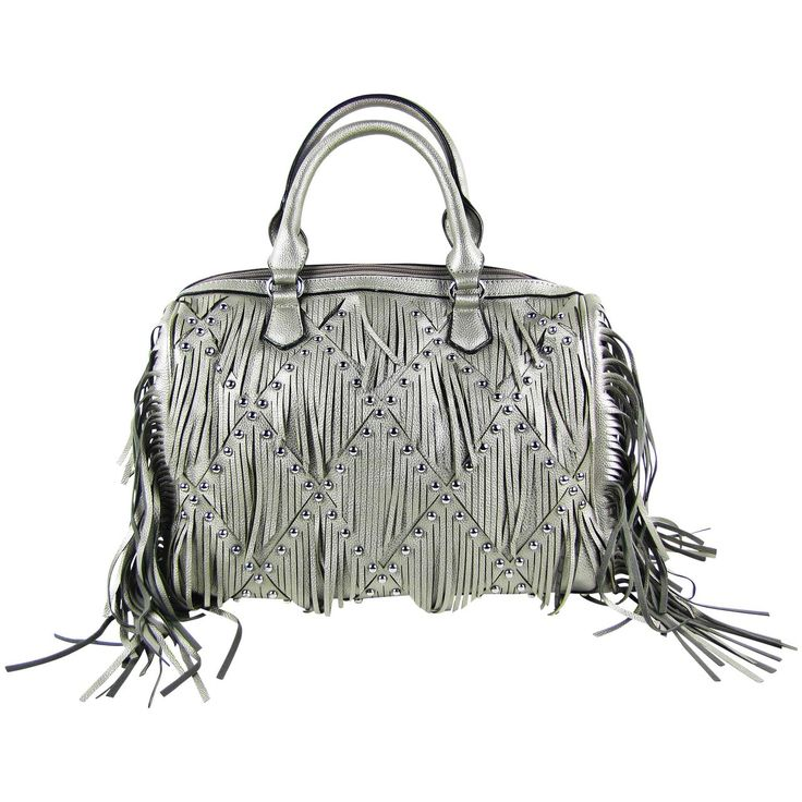 Ruffle look handbags make a peppy and carefree fashion statement, deliver your unique statement with this gray studded ruffle look shoulder bag at Lady Vogue Fashion. http://bit.ly/2qjanRx