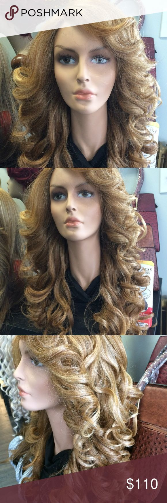 New Hand Tied Human Mix Strawberry Blonde Wig this wig is beautiful. Very Full Hollywood Glam. HighEnd ! This unit with her long, soft layers, positively radiates glamour! This style's wave pattern gives the appearance of a more natural curl with tons of movement. And with the natural construction, no one will have the slightest hint as to what you're wearing.big gorgeous hair Accessories Hair Accessories