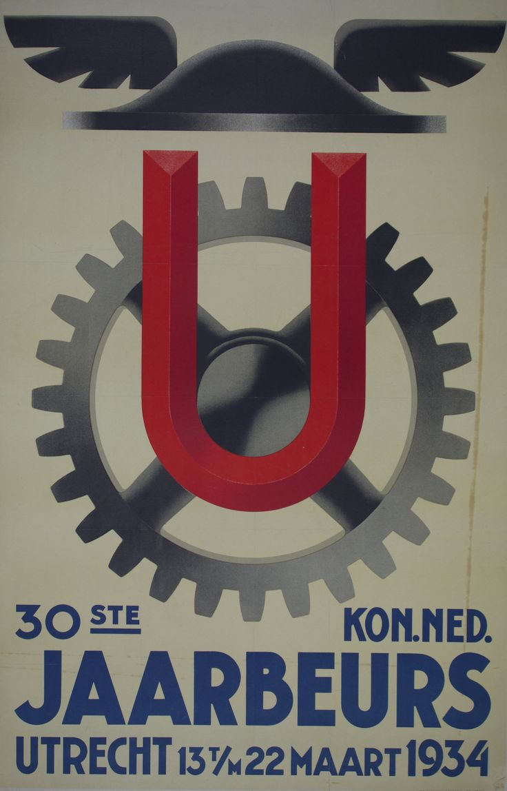 Netherlands - 1934 /  26 x 39 in (66 x 99 cm) / An original poster made for a trade fair in Utrecht, March 22nd 1934.