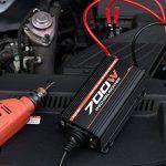 cool POTEK 700W Spannungswandler/Wechselrichter 12 VDC auf 220/230 VAC Inverter für Auto / Boot / Camping / Motorrad / Kfz mit 1*USB Anschlüsse, 1*Zigarettenanzünder, 2*Eurosteckdose,4*Ersatzsicherungen, 2*Autobatterieclips