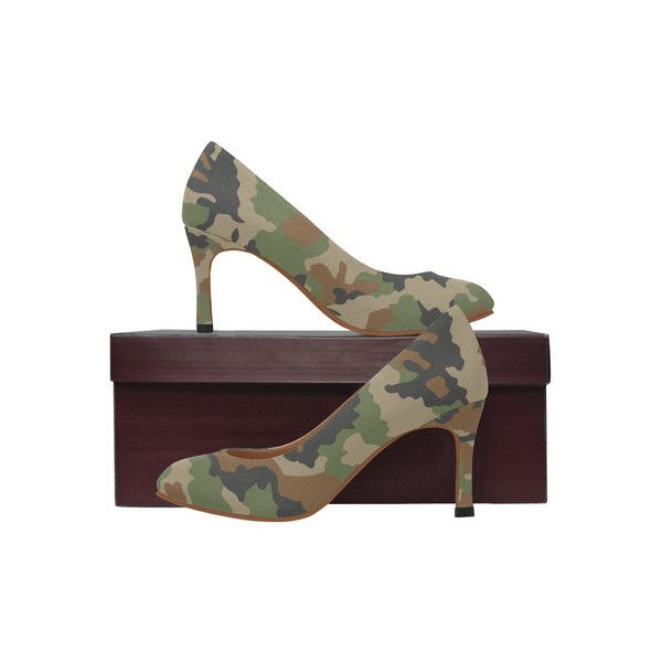 woodland camouflage pattern Women's High Heels (Model 048) ❤ liked on Polyvore featuring shoes, pumps, high heel court shoes, high heeled footwear, camo pumps, camo shoes and camouflage pumps