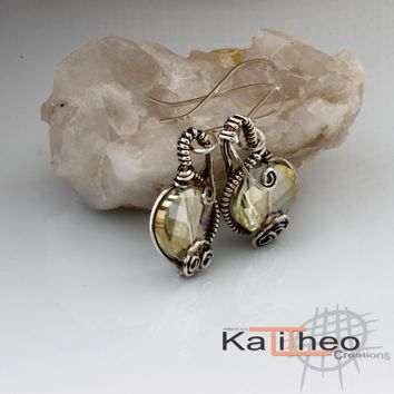 Hand-Crafted Wire Wrapped Sparkling Earrings / Minimalist Trend Oxidised Sterling Silver / Mothers Day Gift /KTC-111