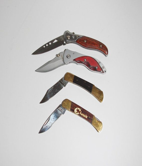 4 Small Pocket Knives Single Blade Wood Handles  by StetsonKnives