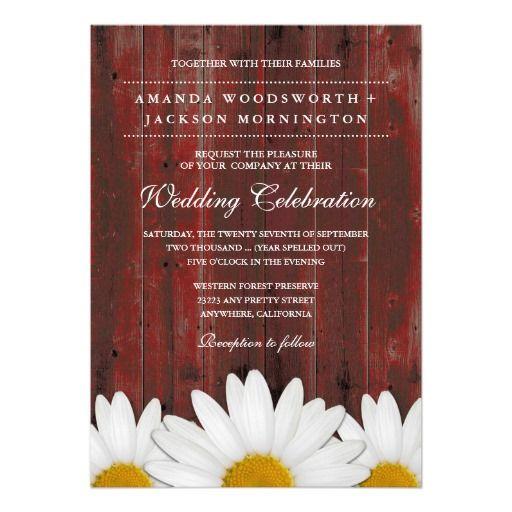 Red Barn Wood Rustic Daisy Wedding Invitations