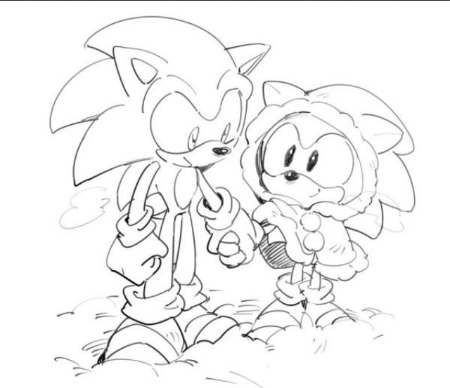 modern sonic and classic sonic walking together in the snow awwwwww classic sonic looks - Classic Super Sonic Coloring Pages