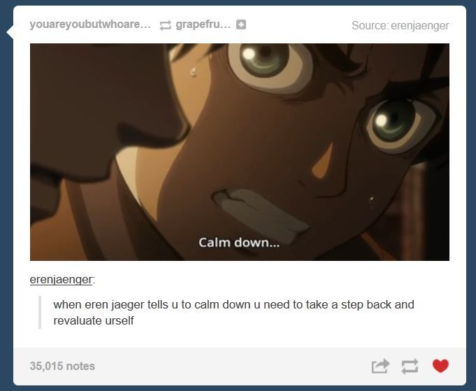 "yeah because Eren is the president of the ""calm down"" club"