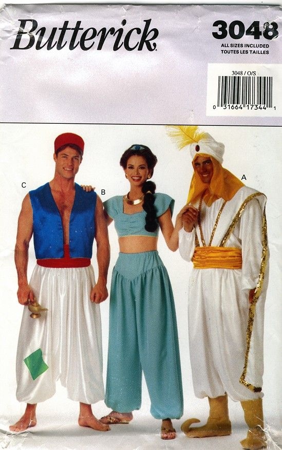 Butterick 3048 Aladdin and Jasmine Costumes by retrowithlana  sc 1 st  Pinterest & 246 best Costume Parade images on Pinterest | Carnivals Halloween ...