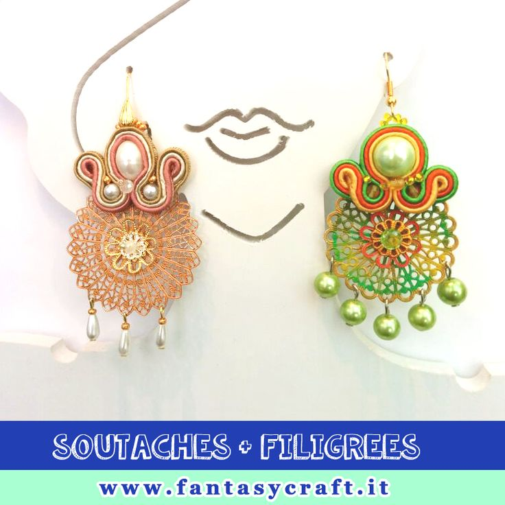 Have you ever tried to mix and match soutaches with Patina colored filigree? Old Fantasy Craft's classes, made by Arianna Raffa. #fantasycraft