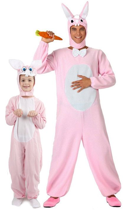 Déguisement de couple lapin rose père et fils : Déguisement lapin blanc et rose adulteCe déguisement de lapin pour adulte se compose d'une combinaison et d'une coiffe (carotte et chaussures non incluses). La combinaison effet...