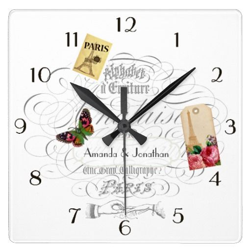 Vintage Paris Wedding Commemorative Personalized Square Wall Clocks