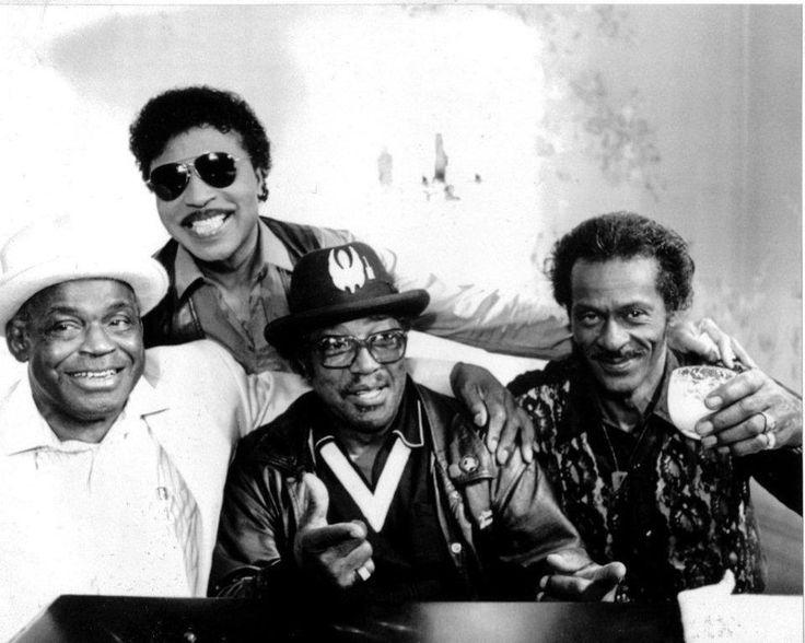Willie Dixon, Little Richard, Bo Diddley, and Chuck Berry, at Berry Park, Wentzville, Missouri, Hail! Hail! Rock'N'Roll, 1987.